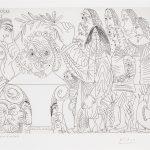 """""""Le Buste du Peintre Mort est Couronne Par L'Academie: La Veuve Se Moque"""" (1968). Etching from Pablo Picasso's 347 Series."""