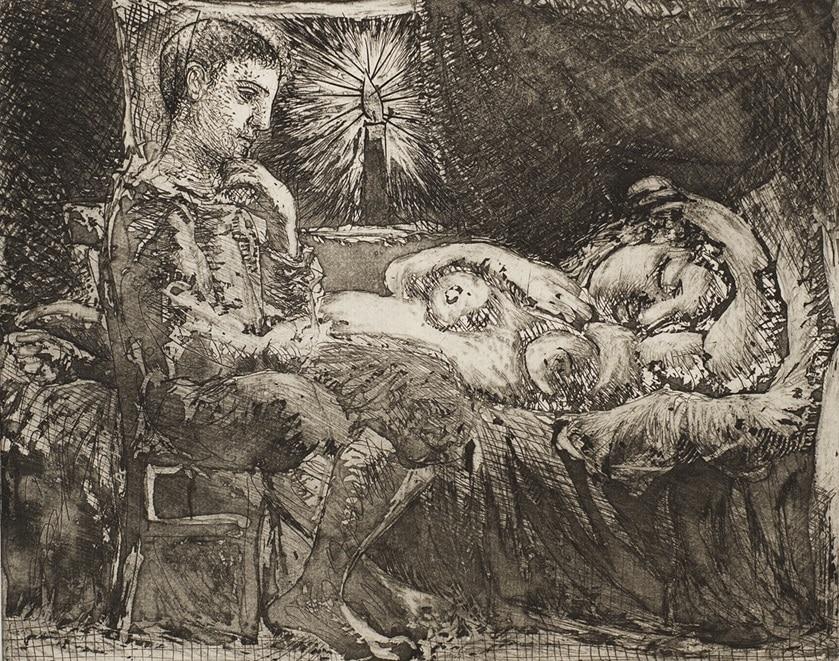 """Garcon et Dormeuse a la Chandelle"" (1934). Etching from Picasso's Vollard Suite."