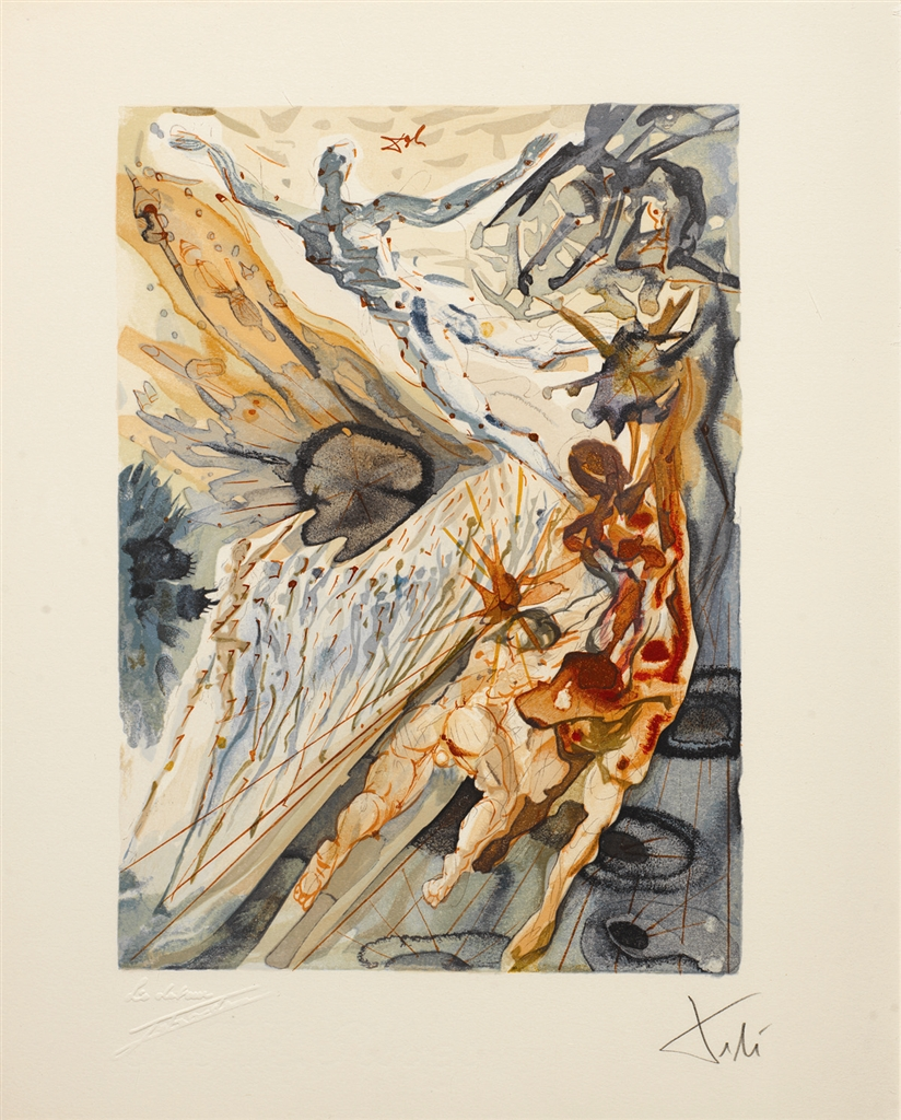 """Meeting of the Two Groups of Lechers"" (Recontre de deux troupes de luxurieux; 1960). From ""Divine Comedy—Purgatory 26,"" Salvador Dalí."