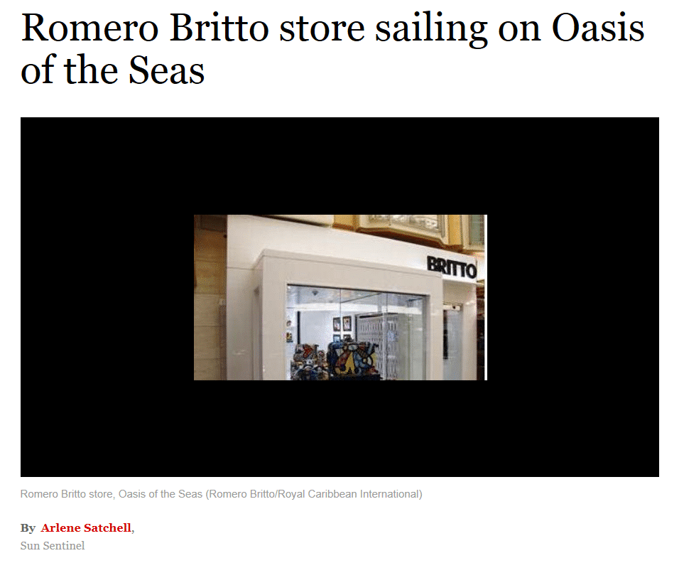 Britto's new store, as seen on the Oasis of the Seas