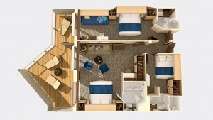 An overhead view of a family-connected cabin in the Quantum of the Seas. Image courtesy of Royal Caribbean.