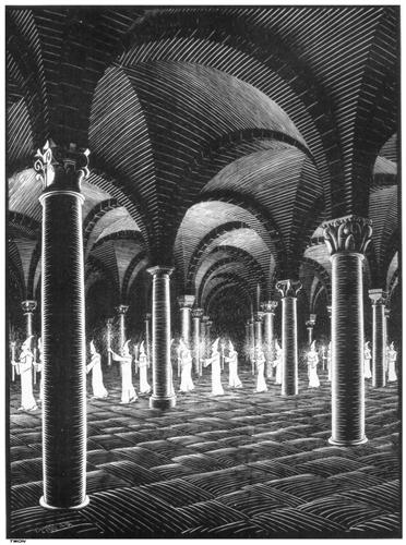"""Procession in Crypt"" by M. C. Escher"