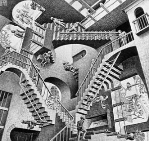 "M. C. Escher's ""Relativity."" Image courtesy of Wikipedia"