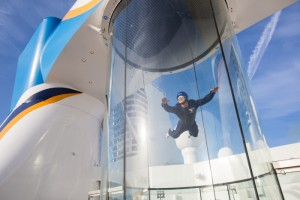 The RipCord by iFly allows cruisers to experience skydiving on the ship. (Photo courtesy of Royal Caribbean International)