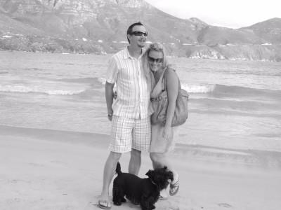 Ian and Lydie enjoying Hout Bay Beach in Cape Town. Photo credit: Ian Hamlin