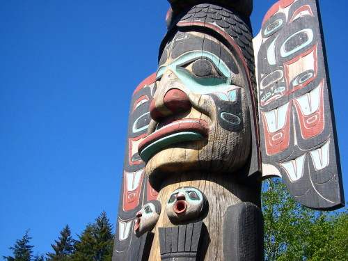 Detail of an intricate totem pole carving. Photo credit: Jeremy Keith