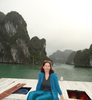 Angela enjoying the beauty of Ha Long Bay in Vietnam. Photo credit: Angela Trumble