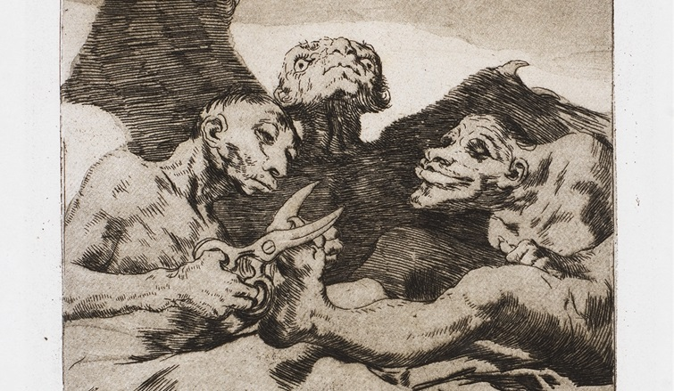"Detail from ""Se Repulen"" (They Spruce Themselves Up, c. 1799). Etching from Francisco Goya's Los Caprichos series."
