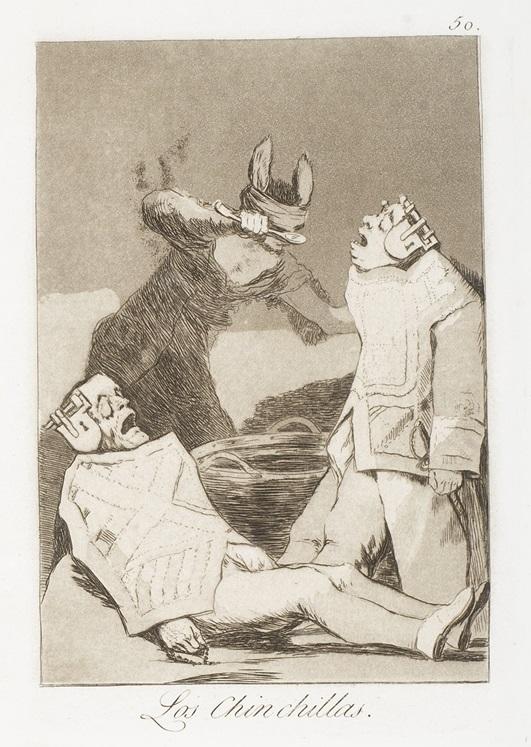 """Los chinchillas"" (c. 1799). Etching from Francisco Goya's Los Caprichos series."