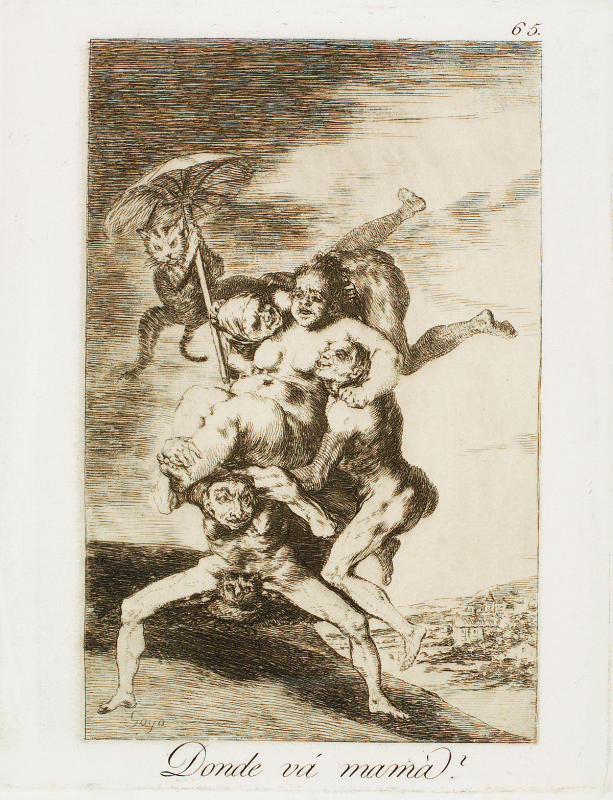 """Where is mother going?"" (c. 1799). Etching from Francisco Goya's Los Caprichos series."