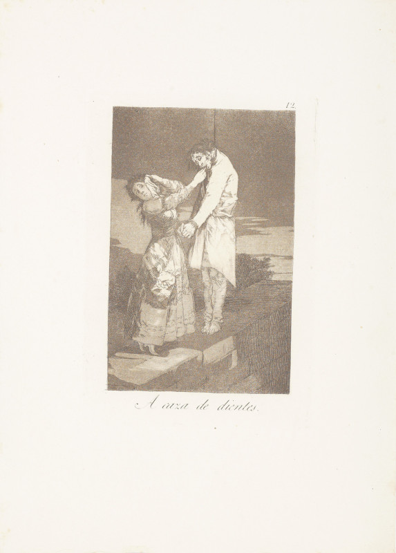 """Out Hunting for Teeth"" (c. 1799). Etching from Francisco Goya's Los Caprichos series."