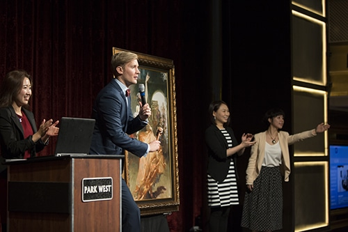 Robin, Skye, and Juliet are one of art teams in Asia conducting some of the first bilingual auctions in Chinese and English. (Left to Right: Skye Chunyan Li, Robin Rose, Kohane Nakamura, Juliet Zhu) Photo credit: Renée Leveille