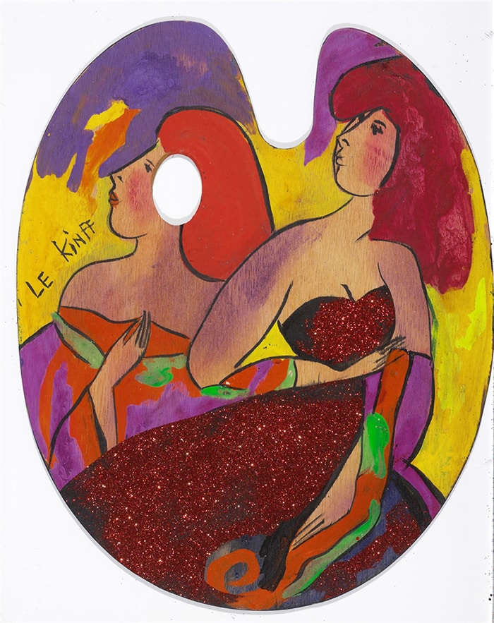 Acrylic on wood painting of two women by Linda LeKinff