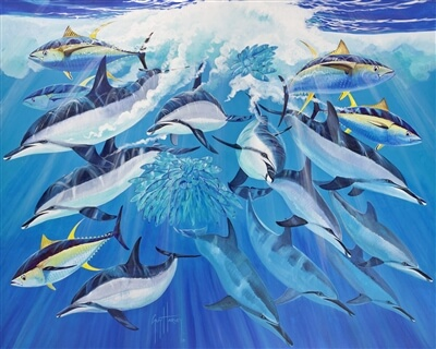 A Guy Harvey dye sublimation painting of dolphins and tuna feeding on anchovies