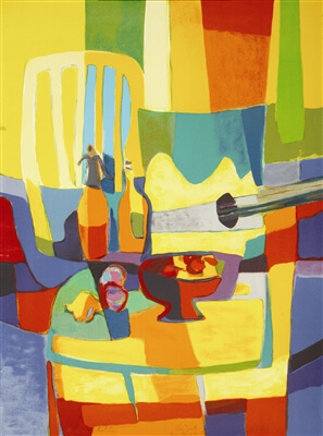 Colorful abstract lithograph by Marcel Mouly
