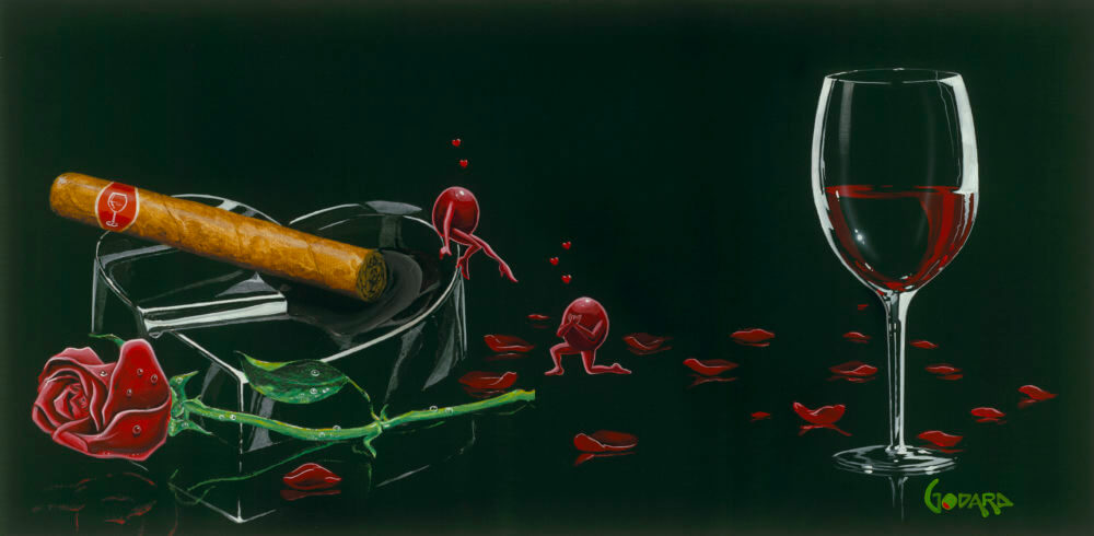 Michael Godard Red Wine Love Petals