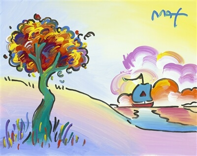 A Peter Max acrylic painting on canvas of a tree and a sailboat in the distance