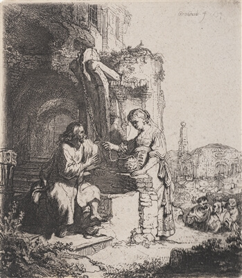 An etching by Rembrandt featuring Jesus talking to the Samarian woman
