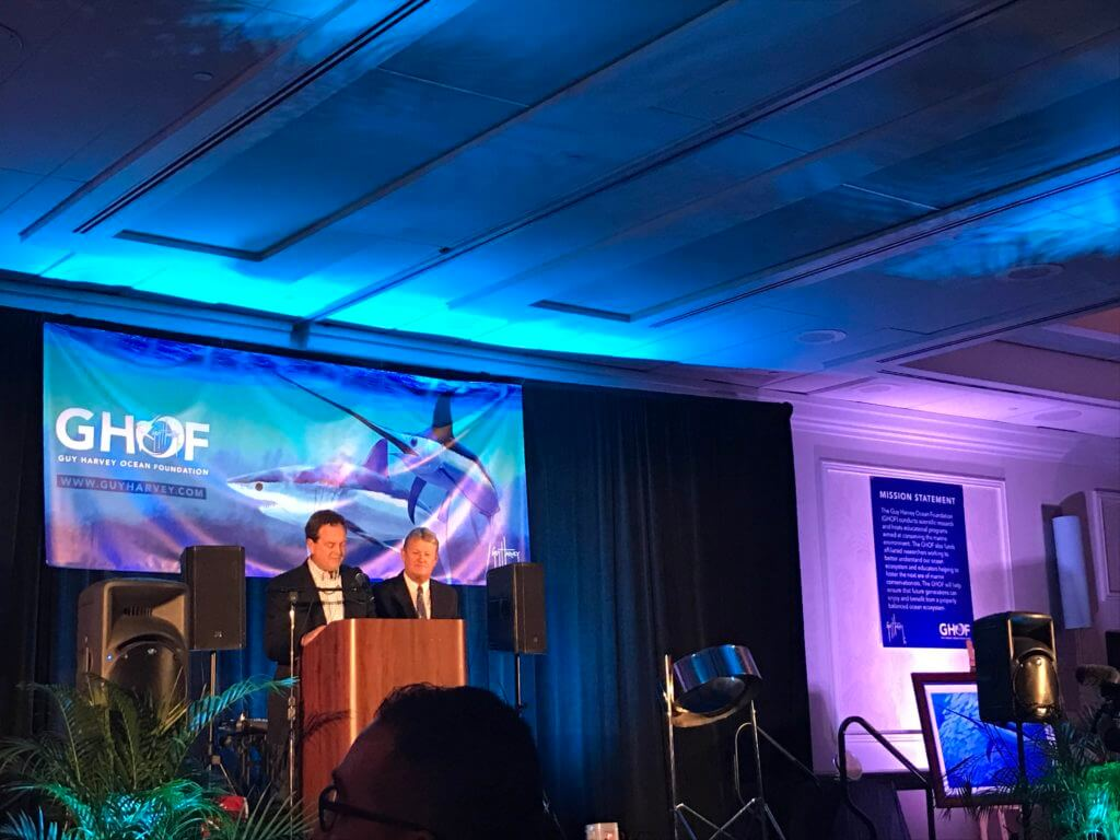 Dr. Guy Harvey speaking at the 9th Annual Guy Harvey Ocean Foundation fundraising banquet at the Hyatt Regency in Fort Lauderdale, Florida