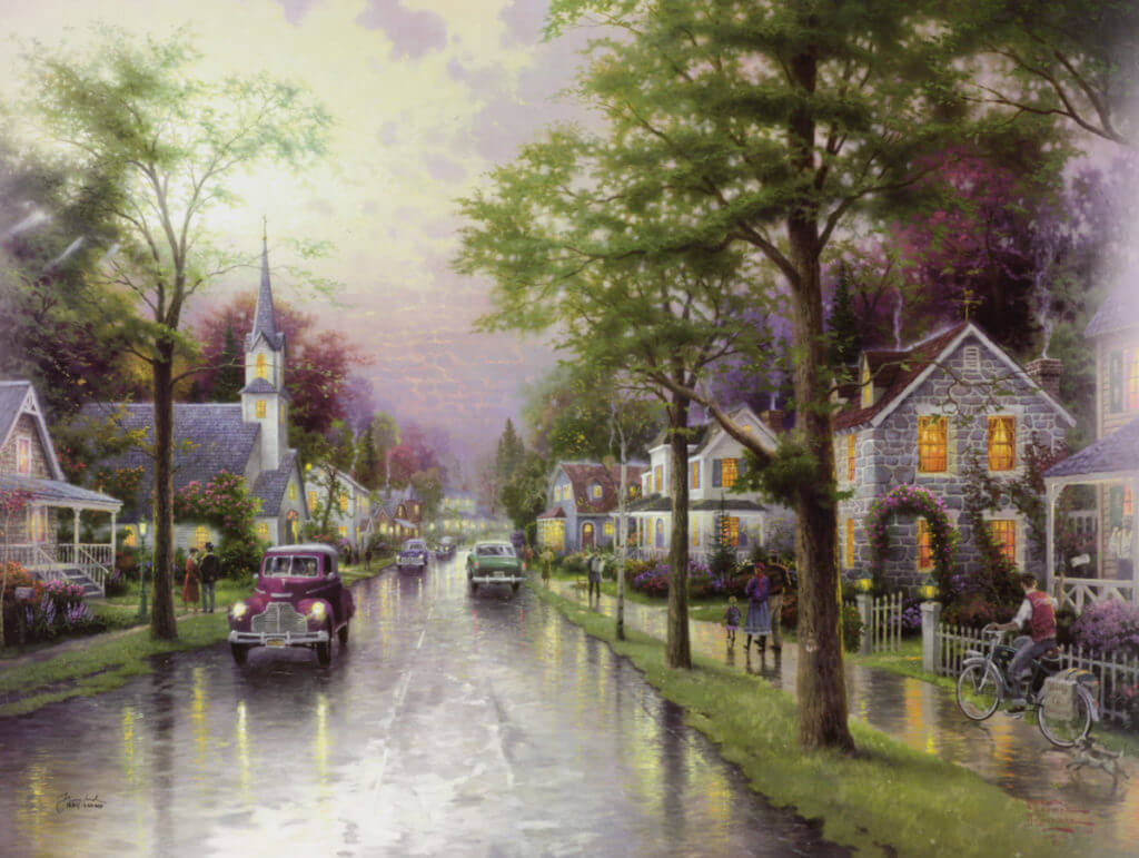 """Hometown Morning"" (2000) Thomas Kinkade."