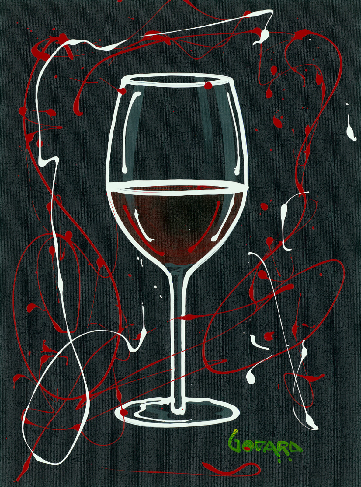 """Red Wine on Black"" (2015) Michael Godard"