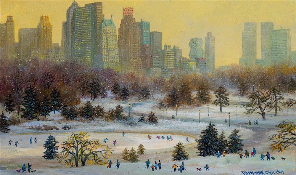 Wide shot of people skating in central park during winter