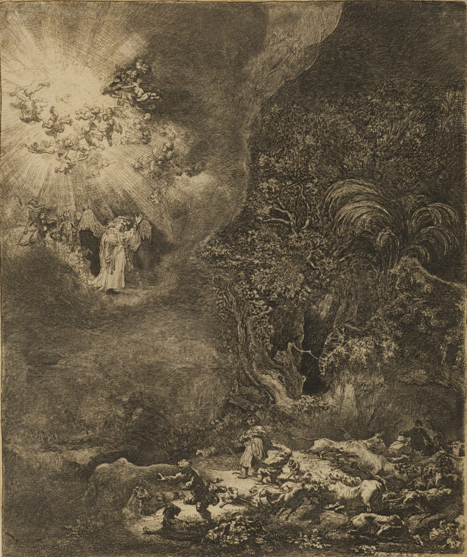 Rembrandt Van Rijn Angel Appearing to the Shepherds Park West Gallery