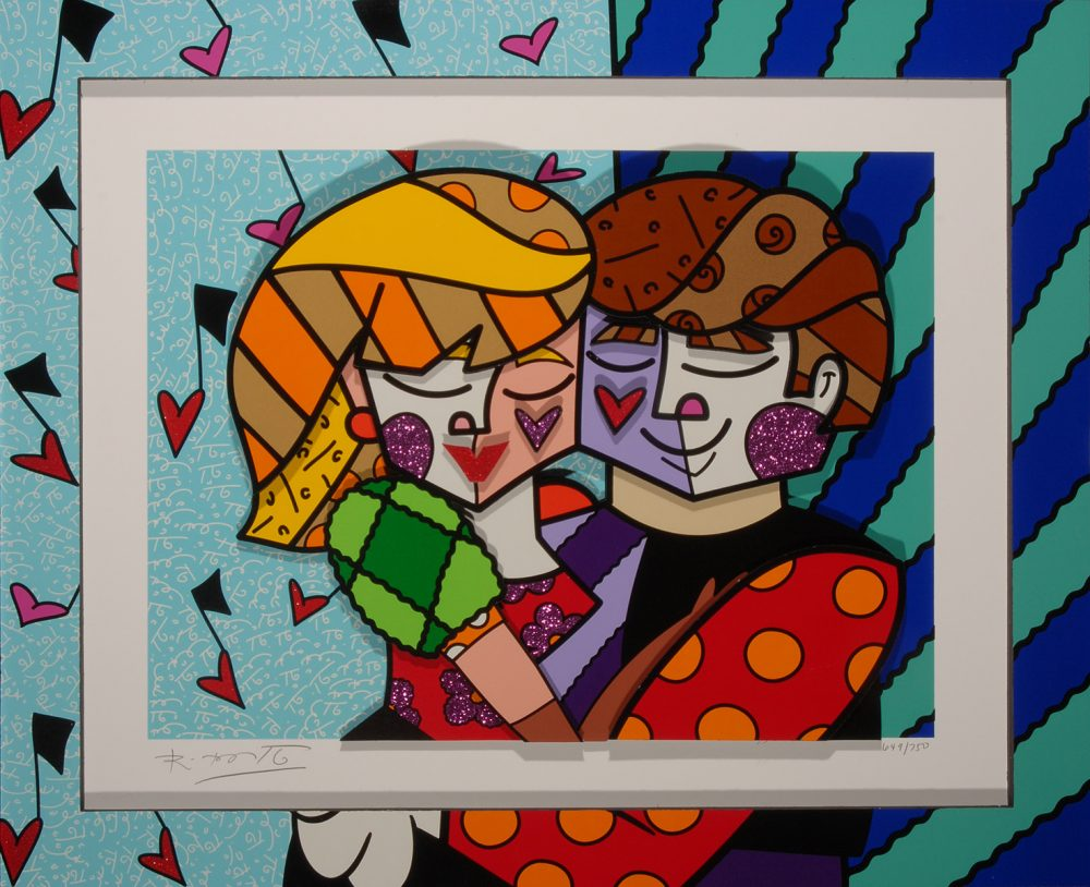 Romero Britto Blue Couple Park West Gallery
