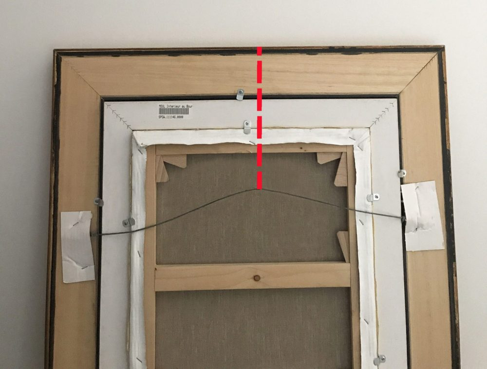 The Red Line Indicates Measurement From A Ened Hanging Wire To Top Of Frame