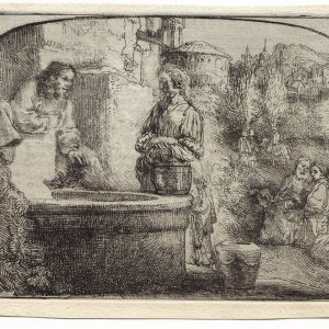 """Christ and the Woman of Samaria: Among Ruins"" (1634), Rembrandt Van Rijn. A 20th/21st Century impression from the ""Millennium Collection,"" printed by master printer, Marjorie Van Dyke."