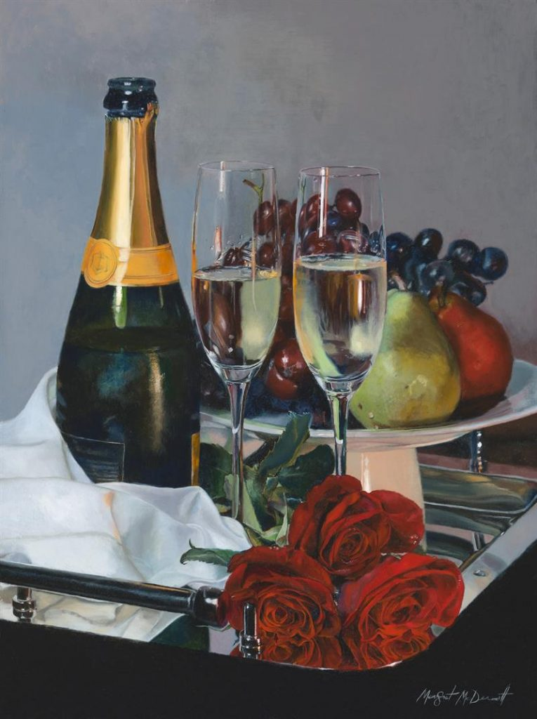 """Tete-a-Tete Champagne and Roses"" (2017), Margret McDermott"