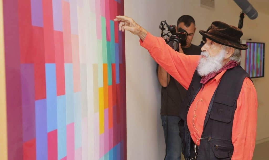 Yaacov Agam giving a tour of YAMA (Photo by Shooka Cohen)