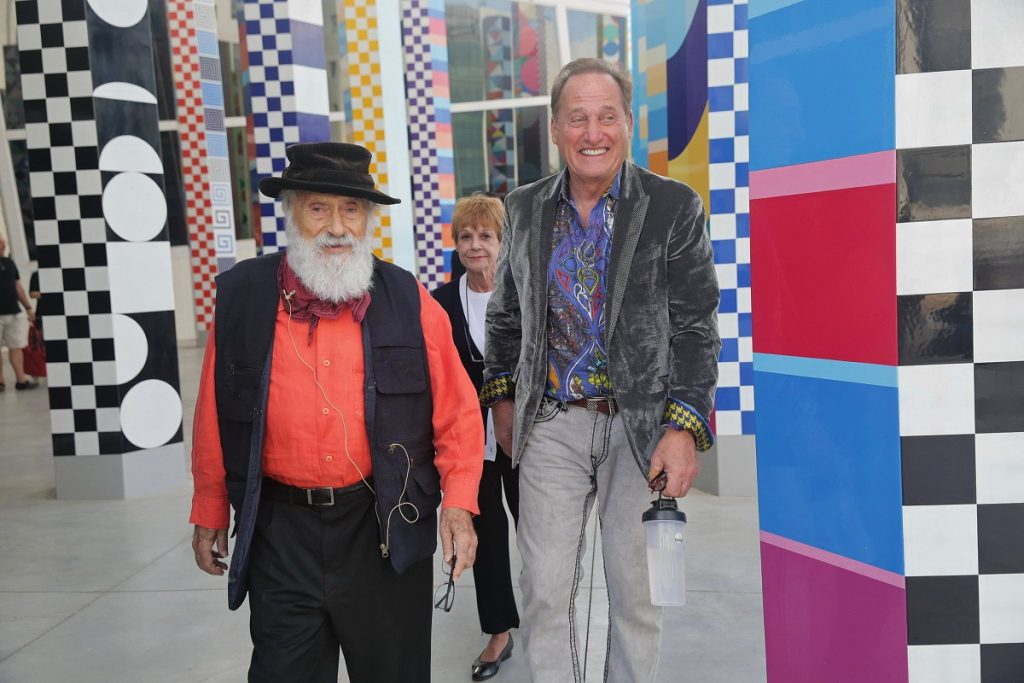 Yaacov Agam, Mitsie Scaglione, and Albert Scaglione, outside of YAMA. (Photo by Shooka Cohen)