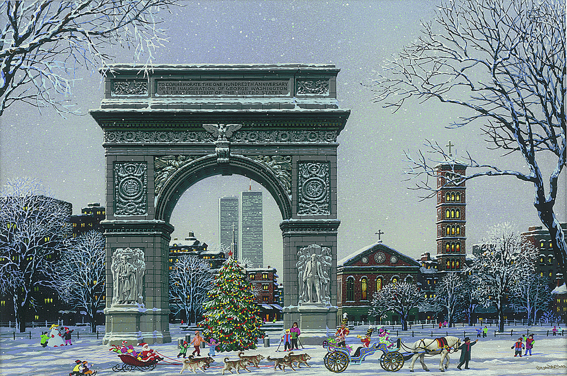 """Washington Square Park"" (2015), Alexander Chen, Park West Gallery Winter Art"