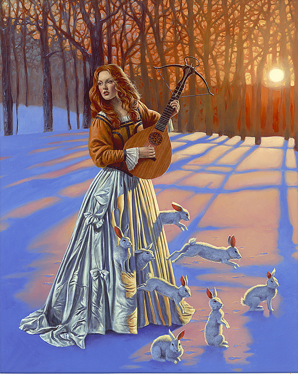 """Love Hunter II"" (2015), Michael Cheval, Park West Gallery Winter Art"