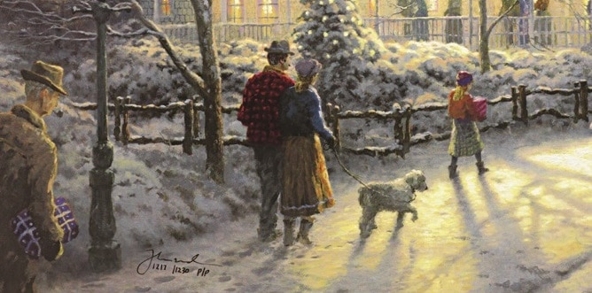 "Detail from ""A Holiday Gathering"" showing Norman Rockwell, Thomas Kinkade, Nanette Kinkade, and their dog, Toby"
