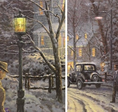 "Details from ""A Holiday Gathering"" showing the two different styles of light poles."