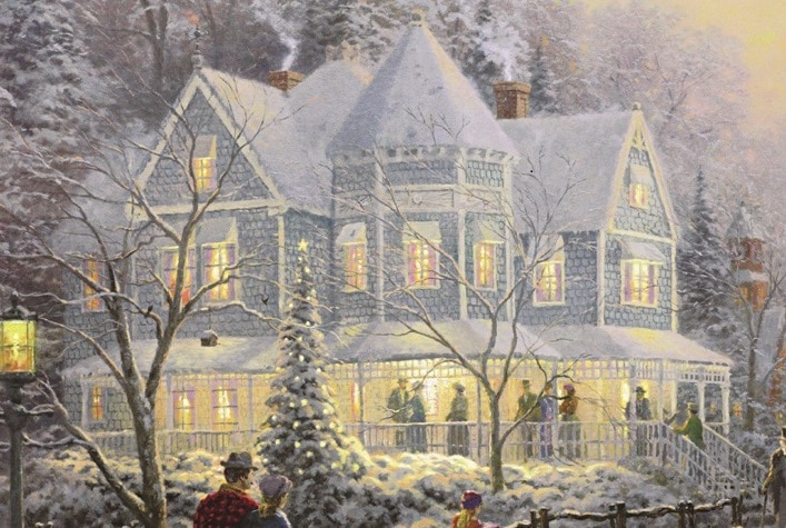 "The Victorian-style home in Thomas Kinkade's ""A Holiday Gathering."""