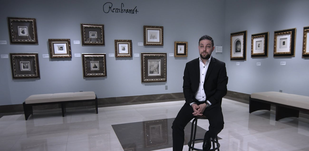 Park West Gallery Director David Gorman in the Park West Museum Rembrandt gallery.