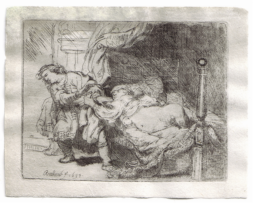 "Etching, ""Joseph and Potiphar's Wife"" (1634), Rembrandt Van Rijn"