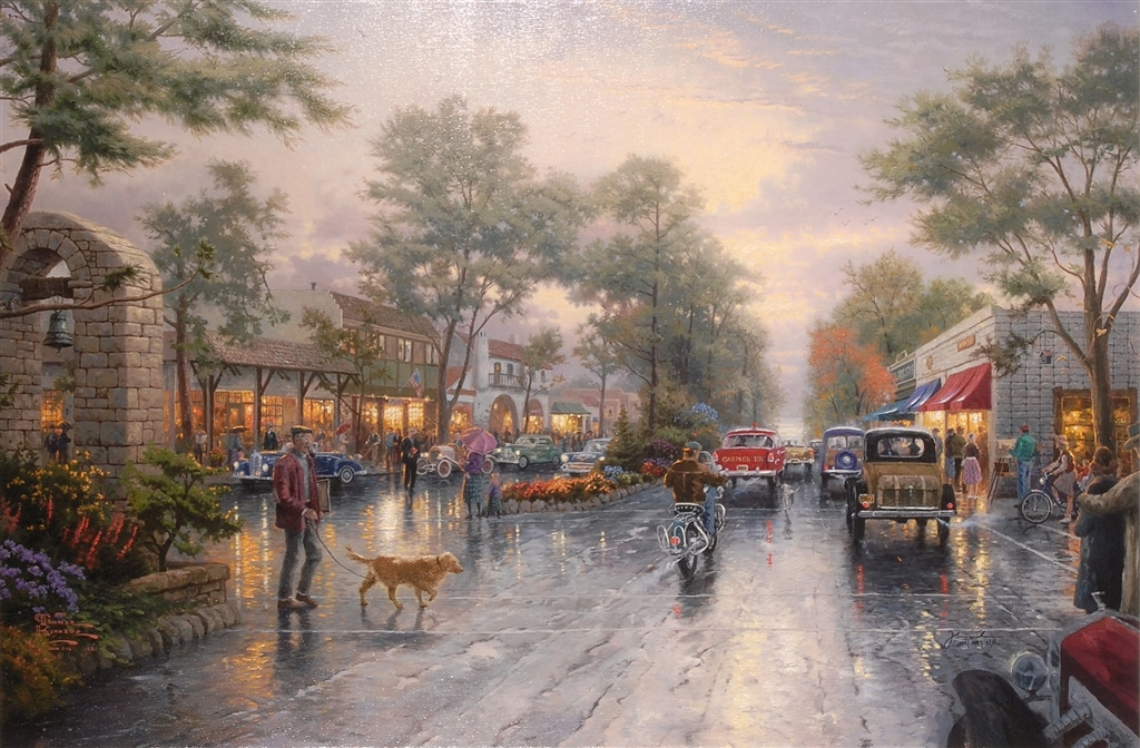 """Carmel Sunset on Ocean Avenue"" (1999), Thomas Kinkade"