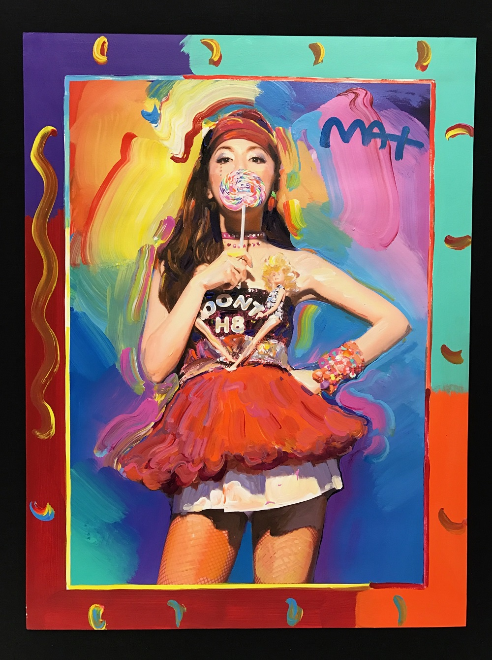 Peter Max's portrait of G.E.M. that will be auctioned off for charity aboard Royal Caribbean International's Quantum of the Seas cruise ship. Park West Gallery, Peter Max cruise ship art