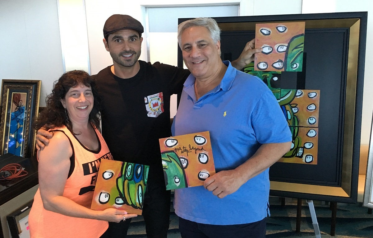 When Gloria (left) and Steve Miller (right) met artist Lebo (center) during their 2016 Asia cruise to China and Japan, they formed an immediate connection with him.