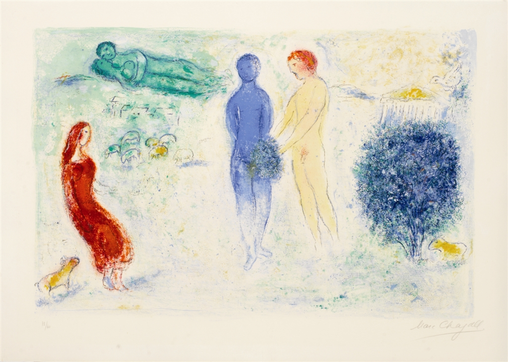 """Chloé's Judgement"" (1961), Marc Chagall. From the Daphnis and Chloé suite. On display at Park West Museum."