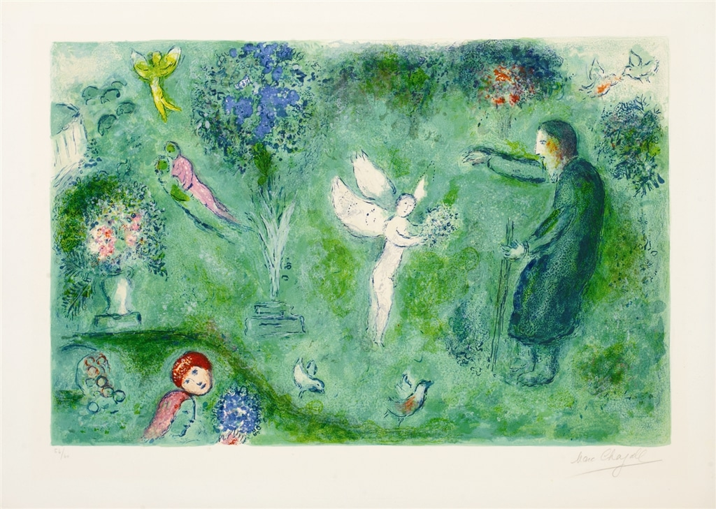 """Philetas's Orchard"" (1961), Marc Chagall. From the Daphnis and Chloé suite. On display at Park West Museum."