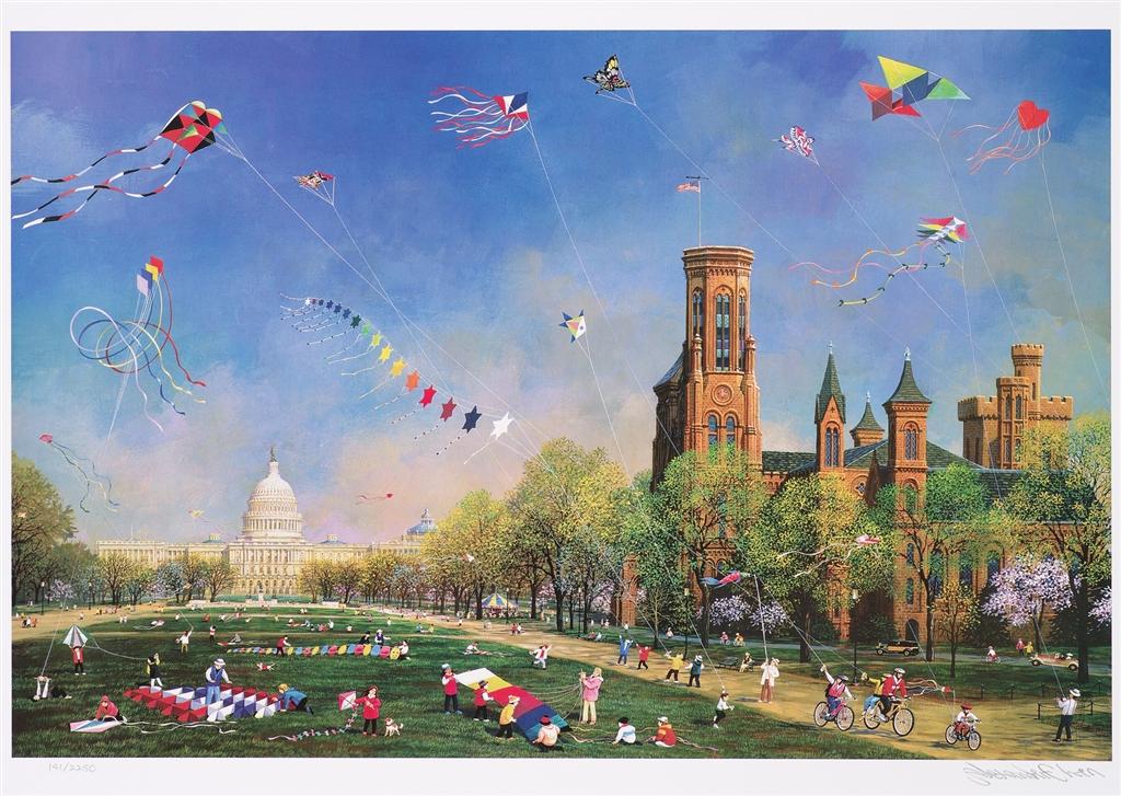 """""""Kite Day in Washington"""" (2016), Alexander Chen, Park West Gallery, summer art"""