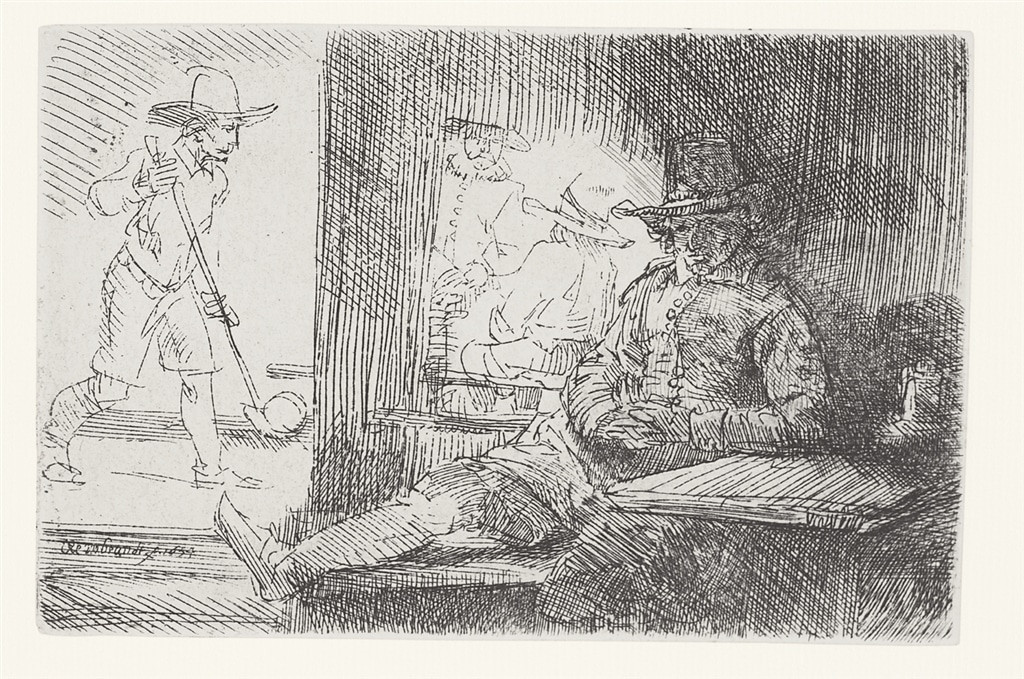 """The Golf Player"" (1654), Rembrandt Van Rijn. A 20th/21st Century impression from the ""Millennium Collection,"" printed by master printer, Marjorie Van Dyke."