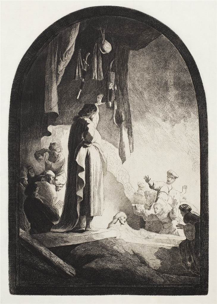 """The Raising of Lazarus: The Larger Plate"" (c. 1630), Rembrandt Van Rijn. A 20th/21st Century impression from the ""Millennium Collection,"" printed by master printer, Marjorie Van Dyke."