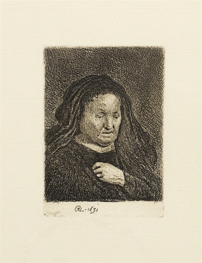 """The Artist's Mother with her Hand on her Chest"" (1631), Rembrandt Van Rijn. A 20th/21st Century impression from the ""Millennium Collection,"" printed by master printer, Marjorie Van Dyke."