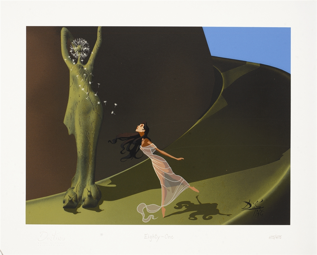 Destino #81 (2007), from the animated short by Walt Disney and Salvador Dalí. Serigraph in color on wove paper.